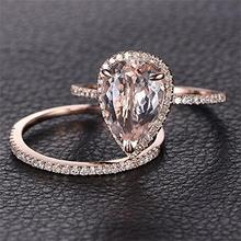 2PCs Women Rose Gold Rings Set Morganite Anniversary Proposal Clear Jewelry Birthday Party Engagement Wedding Band