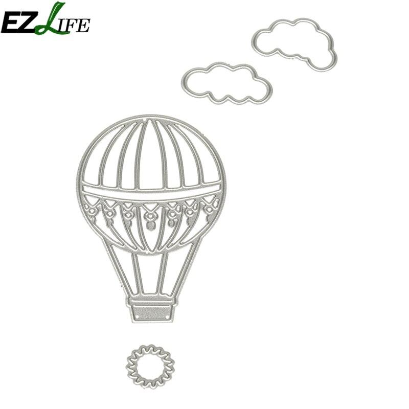 4 unids/set metal Recortes de papel globos de aire caliente y nubes ...
