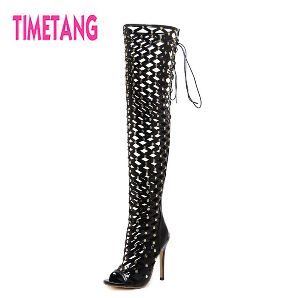 TIMETANG Women Shoes Super Sexy Mesh Cutouts Peep Toe Thin Heel Thigh High Woman Sandals Boots Cool Rivets Lace-up Party Shoes
