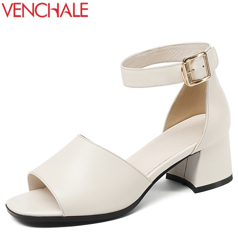 VENCHALE women shoes summer new fashion genuine leather buckle strap med hoof heels open toe cover heel two colors women sandals venchale 2018 summer new fashion sandals wedges platform women shoes height heel 10 cm buckle strap casual cow leather sandals