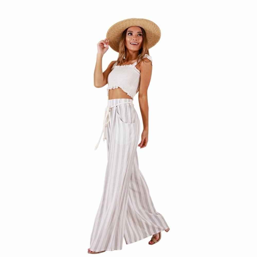 Модные Высокая Талия свободные белые полосатые брюки Для женщин Лето шнурок на шнуровке Широкие штаны длинные брюки 2018 Pantalones S-XL