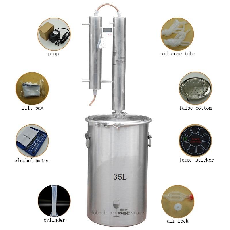 Acero inoxidable 304 35L Moonshine Distiller Bobina de enfriamiento - Cocina, comedor y bar