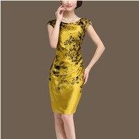 Female Ol Summer Plus Size O Neck Short Sleeve Print 100%silk Dresses Woman Hedging 100% Silk Thin Soft Dresses