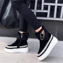 Купить с кэшбэком NAYIDUYUN  Winter Warm Shoes Women Genuine Leather Round Toe Wedges High Heel Riding Boots Rabbit Fur Platform Party Pumps Shoes