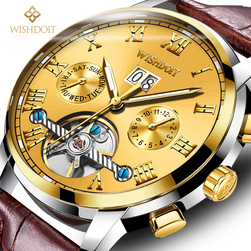Mens Watches WISHDOIT Luxury Brand Automatic Mechanical Watch Men Leather Business Waterproof Sport Watches Relogio Masculino unique smooth case pocket watch mechanical automatic watches with pendant chain necklace men women gift relogio de bolso
