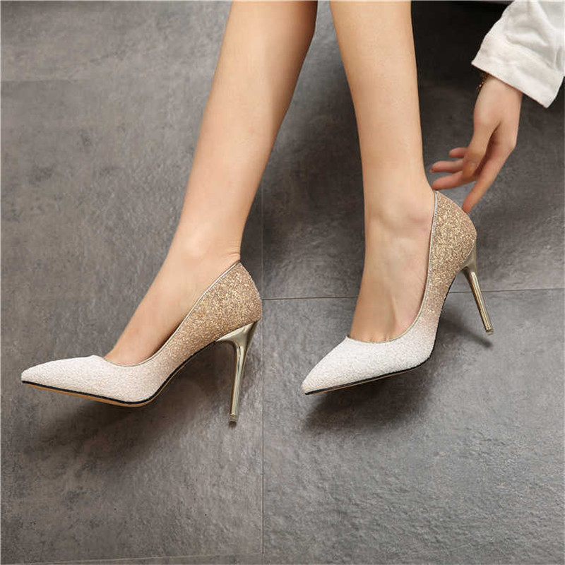 Female Shoes Paillette Thin-Heels Women Pumps Gold-Sliver White Sexy Extrem