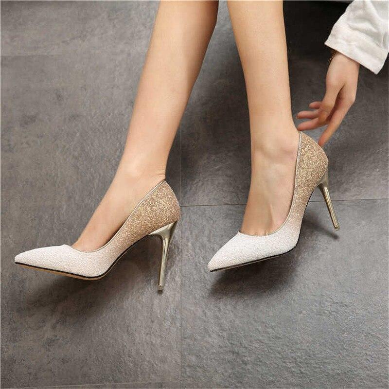 Mulheres Bombas Extrem Sexy Paillette sapatos de Salto Alto Mulheres Sapatos de Salto Alto Saltos Finos Sapatos Femininos Sapatos De Casamento Do Ouro Sliver Branco Sapatas Das Senhoras