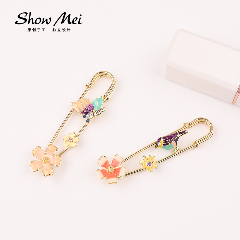 Decorative colorful Flower Brooch safety steel pin metal brooches enamal pins Exquisite Collar For Women Dance Party Accessories