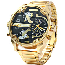 цена на D3137 Gold Stainless Steel Band Quartz Watch For Men Luxury Shiweibao Mens Wrist Watches Man Military Relogio Masculino XFCS New