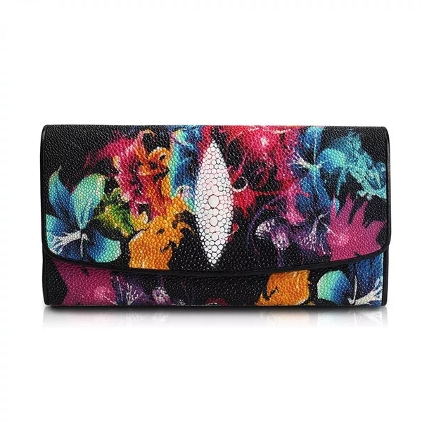 Colorful Flowers Designer Hasp Closure Genuine Stingray Leather Lady Long Wallet Gift Purse For Women Female Large Clutch Wallet все цены