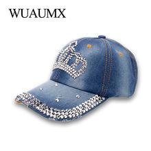 8f240076e7e Wuaumx Women s Baseball Cap With Rhinestones Drill Crown Pointed Hat For A  Girl Crystal Snapback Cap