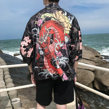 Dragon Printing Japanese Kimono Shirt Men Japan Style Mens Hip Hop  Casual Open Stitch Male Fashion Streetwear