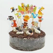 Cake Party Supplies Birthday Wedding Decoration 1 set cut zoo animals Happy lion giraffe bird monkey Cupcake Toppers