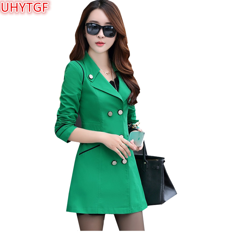 UHYTGF Spring Autumn   Trench   Coat Women Double Breasted Slim Coats plus size Casual in the Long section Temperament Coat Tops 100