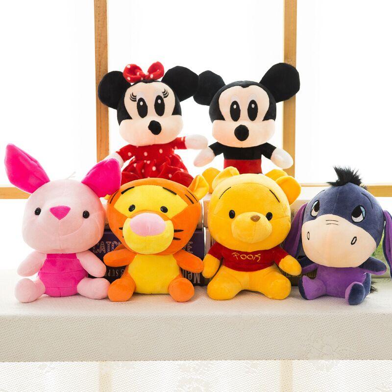 Disney 8 peluche animaux jouets Mickey souris Minnie Winnie l'ourson Lilo petit cochon poudre pendentif enfants anniversaire cadeau de noël