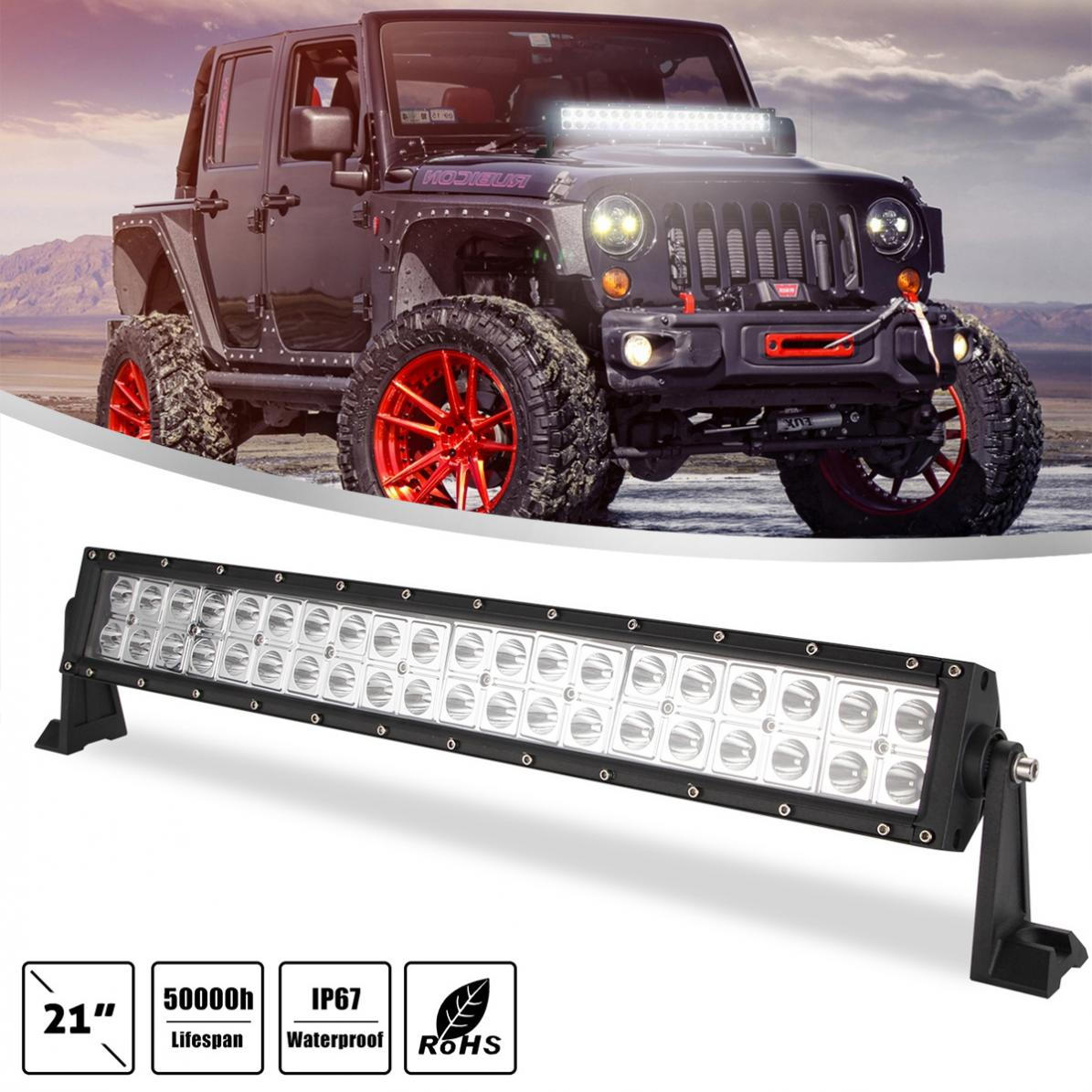 21 Inch 200W 2 Rows 6000K White Waterproof Car Led Work Light Bar for Off-Road Suv Boat 4X4 Jeep JK 4Wd Truck 12V-24V image