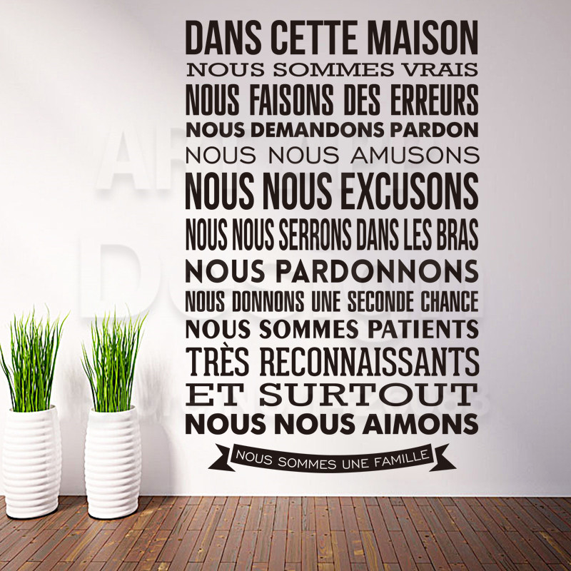 Art Design Home Decor French Quote Rules Characters Wall Sticker Removable House Decoration Cheap France Words