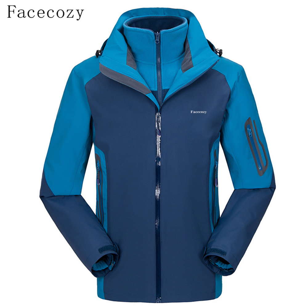 Facecozy Men's Winter Hiking Jackets Two Sets Fleece Softshell Jacket Outdoor Windproof Warm Three In One Jaqueta Hooded Coat 2017 new couple outdoor sports jackets men s three in one excursions hiking hooded women s two piece ski clothes fishing hunting