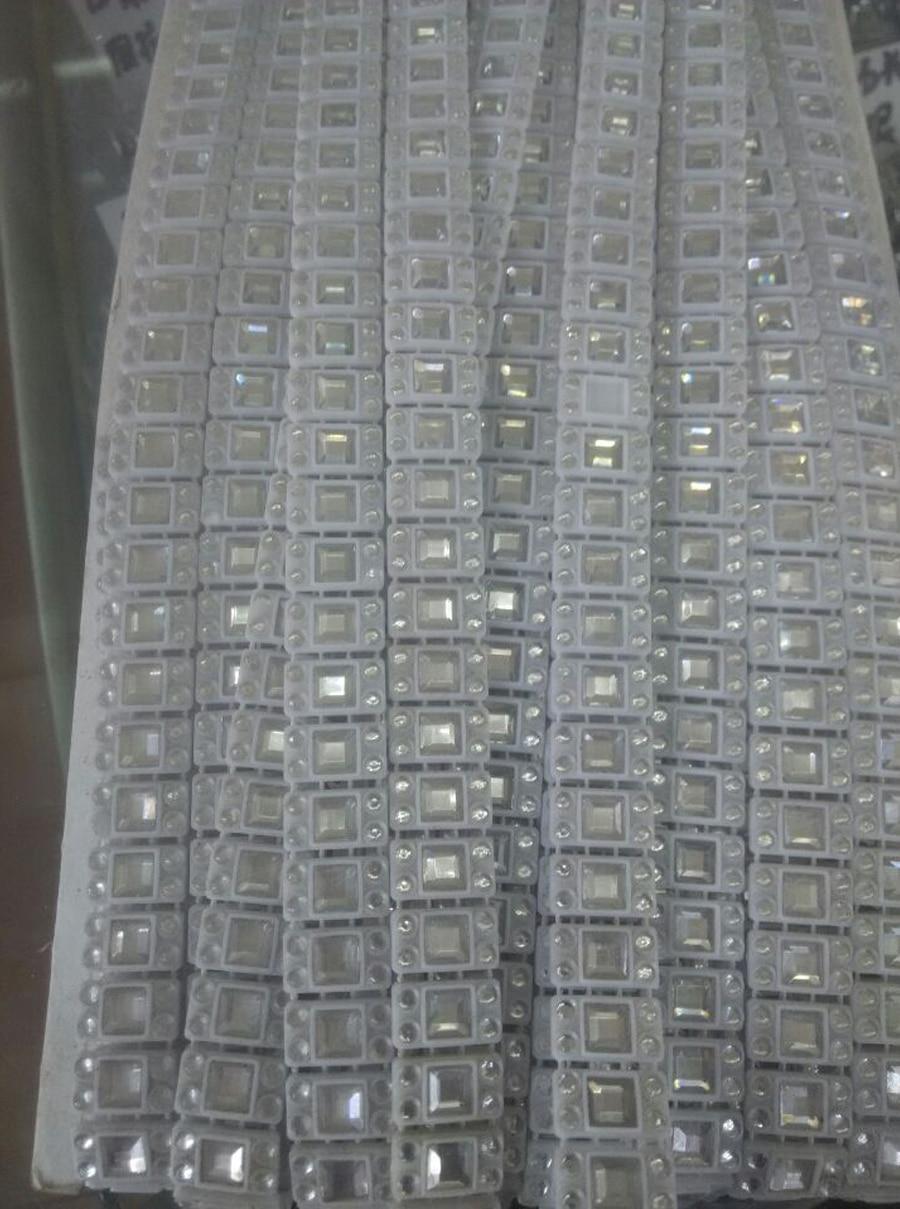 (20 Yard/lot) Wit Plastic Crystal Strass Trimmen Strips Voor Bekleding Meubilair Accessoires Naaien Rhinestone
