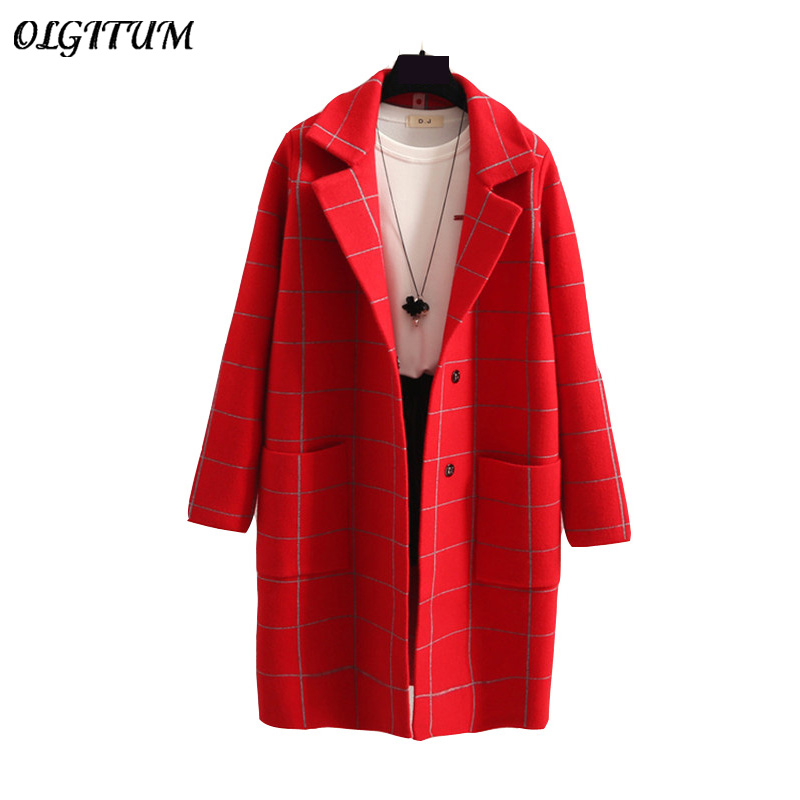 Hot Sale 2019 Women Coats Spring/Autumn New Suit Collar Lace Knitted Jacket Coat Female Korean Loose Long Sweater Cardigan