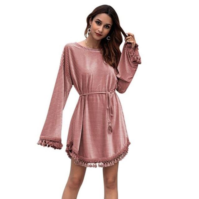 US $17.63 48% OFF|spring autumn long sleeve velvet fringe dress women  casual o neck loose short tassel dress plus size clothing robe femme  C3055-in ...
