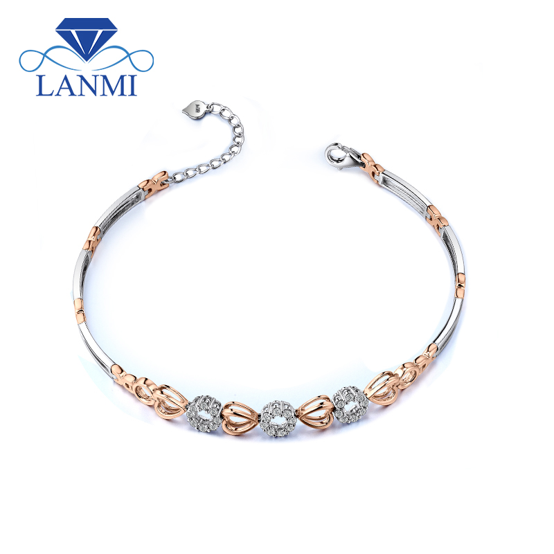 Lovely Style Multi Two Tone Gold 18K Yellow&Rose Gold Diamond Engagment Bracelets For Womens Fine Jewelry NA0033