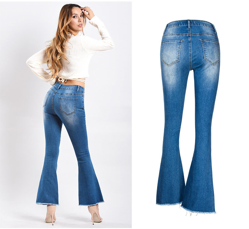 Women\`s dress of Europe and America 2018 new wide leg trousers jeans denim flared trousers women\`s worn-out edge trousers (6)