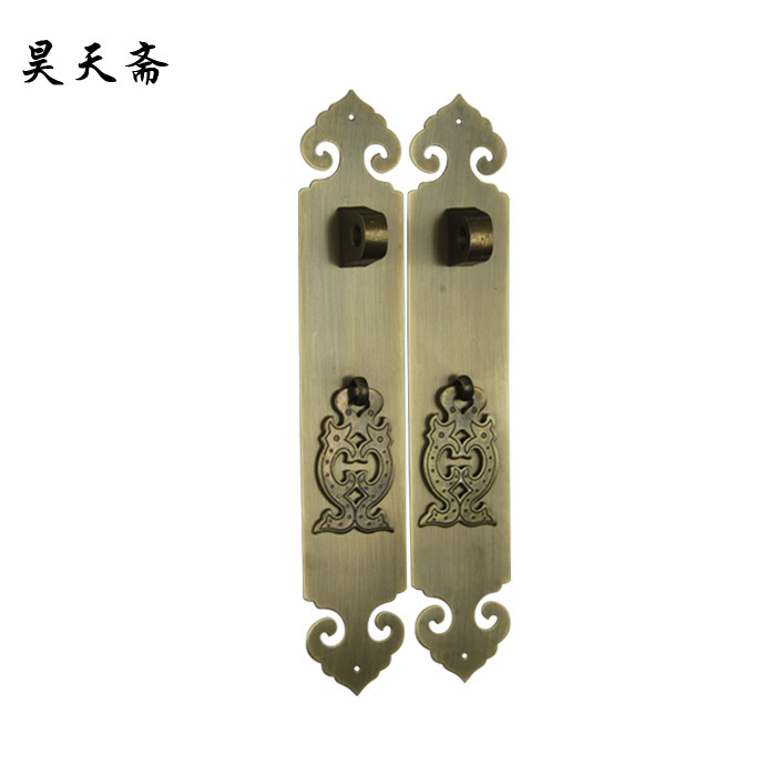 [Haotian vegetarian] new classical Chinese antique copper door lock handle HTC-310 antique brass handle [haotian vegetarian] antique chinese noodles copper handle cabinet handle cabinet door handle classical handle htc 255