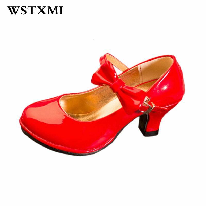 assez bon marché clair et distinctif paquet à la mode et attrayant Classique Arc Fille Haute Talons En Cuir Verni Chaussures ...