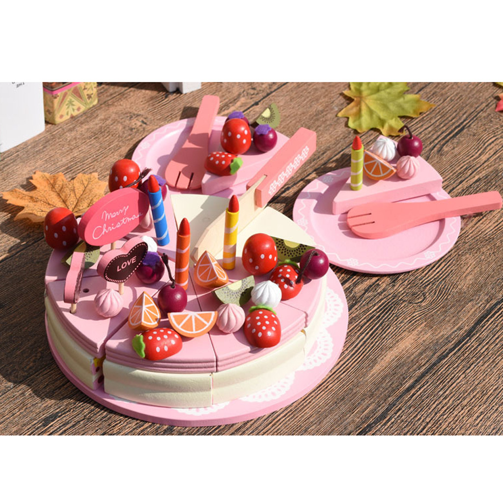 Large Merry Christmas Fruit Birthday Cake Tableware Wooden Cutting Toys Developmental Pretend Play Game Playset