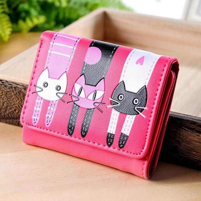 Candy purse women 2016 brand kawaii bag Cat Pattern leather lovely purse clutch Coin Short Wallet Card Holders Handbag 2016 New