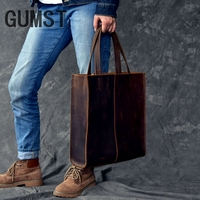 GUMST First Layer Cowhide Handbag For Men Women Vintage Shopping Casual Female Tote Bag Genuine Leather Ladies Shoulder Bags New