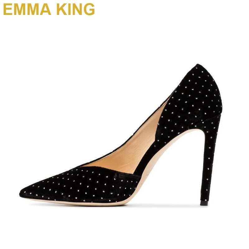 Фото EMMA KING/2019 г. женские туфли лодочки с острым носком вечерние свадебные пикантные на