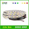Tira conduzida 5050 DC 12 V RGB LED Strip Não-Impermeável 60 leds/m 5 m/lote 300 Lâmpada SMD 5050 Flexíveis Led tiras de Fita Ledstrip luz