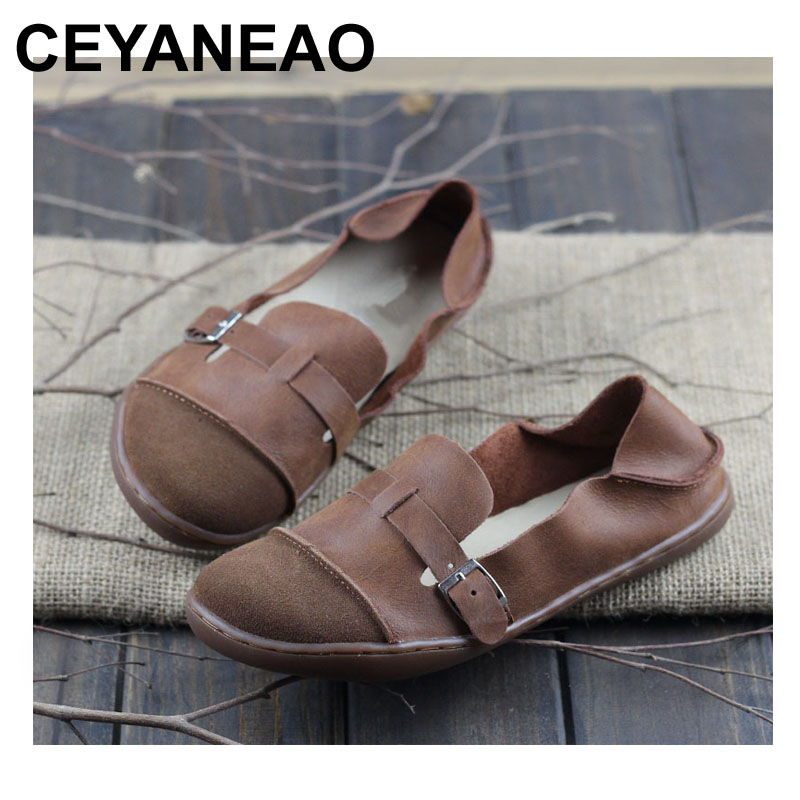CEYANEAO Shoes Woman Genuine Leather Ladies Flat Shoes Round toe Slip on Ballerina Shoes Barefoot Sole Women Flats (K09) ceyaneao shoes woman flats genuine leather round toe slip on loafers ladies flat shoes skid proof spring autumn female footwear