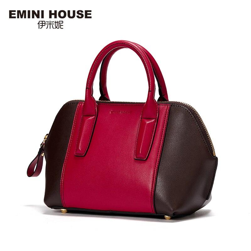 EMINI HOUSE Fashion Shell Bag Split Leather Luxury Handbags Women Bags Designer Shoulder Bag High Capacity Women Messenger Bags