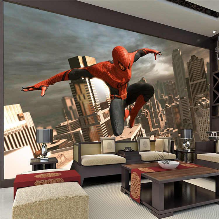Spiderman Wall Mural Superhero Photo Wallpaper Custom 3d Wallpaper Boy S Room Decor Wall Art Kid Bedroom Sofa Background Wall Wallpaper Custom 3d Wallpaperphoto Wallpaper Aliexpress
