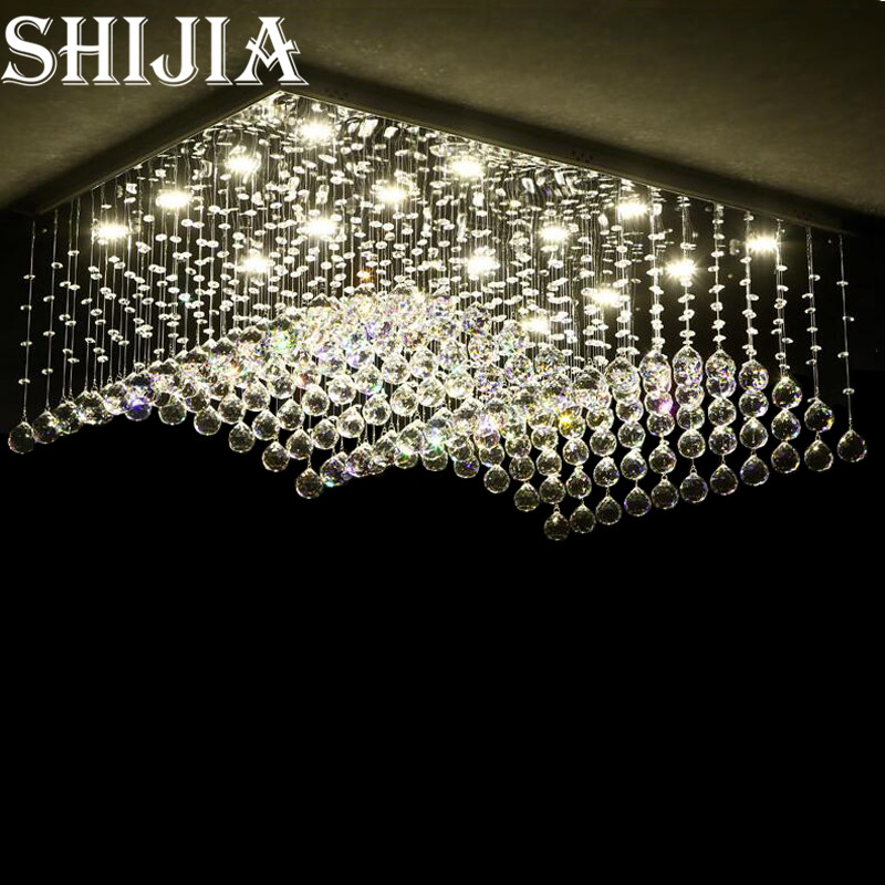Modern Restaurant Rectangular Chandeliers K9 Crystal Lamp LED Wave Crystal Light Bar Restaurant Living Room Lights 110V-260V  kzj 108p k9 rectangular prism