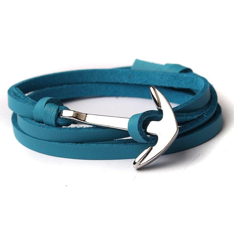NIUYITID Men Anchor Bracelet Jewelry Brown Black Rope Chain Leather Bracelets Trendy 2019 Unisex Women Man Bracelent Male (9)