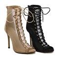Summer Super Celebrity sexy Net yarn high-heeled shoes boots fashion Cross straps shoes women sandals sandalia gladiadora