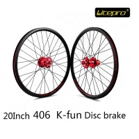 Litepro K fun Disc Brake Wheel set 20Inch 406 Folding Bike Road Bicycle Refitting Wheelset Disc Brake Hub Bicycle DIY Accessorie