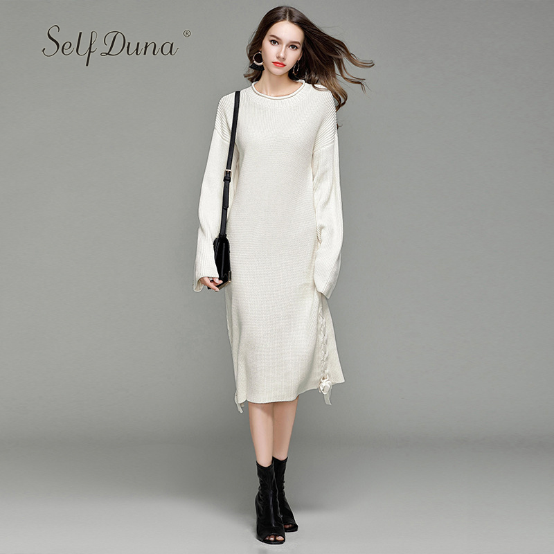 Self Duna 2017 Autumn Women Long Sweater Dress Lace Up Sexy Vintage White Black Loose Casual Winter Maxi Knitted Sweater Dress