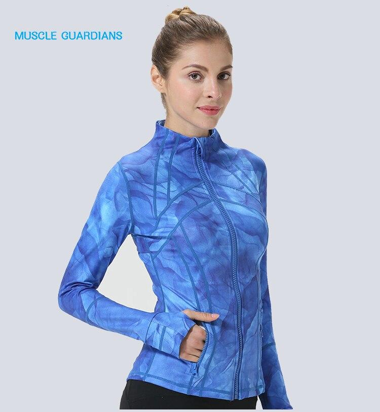 Las mujeres es el pulgar de chaquetas 2018 nuevos de manga larga abrigo de Yoga gimnasio Fitness Tops apretados seca rápido transpirable deportes chaqueta de las mujeres