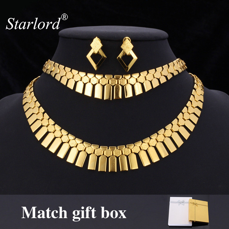 Starlord Africa Choker Necklace Bracelet Earrings Set For Women Hot Fashion Jewelry & Gift Box African Jewelry Set NEH351Starlord Africa Choker Necklace Bracelet Earrings Set For Women Hot Fashion Jewelry & Gift Box African Jewelry Set NEH351