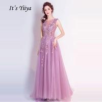 It's YiiYa Light Pink O Neck Sleeveless Prom Dresses Flowers Illusion Floor Length Crepe Party Frocks Custom Made IIY070