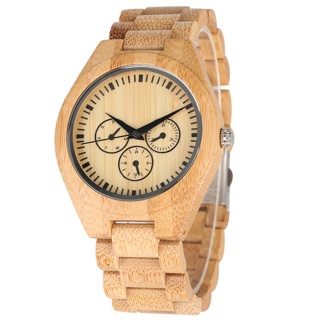All Bamboo False Small Dial Wooden Quartz Watch Movement for Women Men Minimalist Wooden Watches Elegant Wood Strap Wrist Watch | Fotoflaco.net
