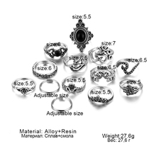 FAMSHIN 13 Pcs/Set Bohemia Antique Silver Elephant Flower Rose Heart Crown Carved Rings Set Knuckle Rings for Women Jewelry 2018