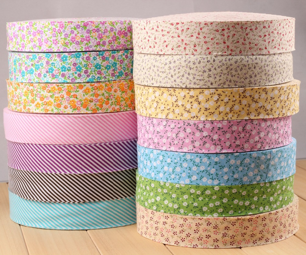 3.5cm Floral Plain Cotton Bias Binding Tapes, Unfolded Gingham Trim <font><b>Covered</b></font> Dress-making Craft Upholstery Sewing <font><b>Textile</b></font> Webbing image