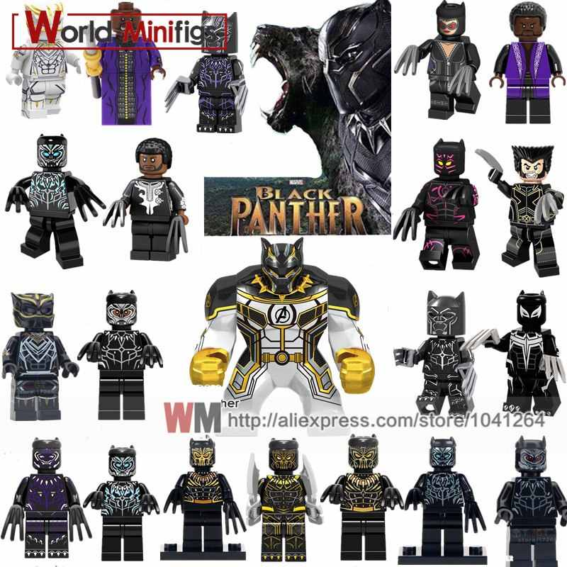 Único Black Panther Marvel Super Heroes Avengers Ghost Rider Spiderman Wolverine Figuras Building Blocks Brinquedos