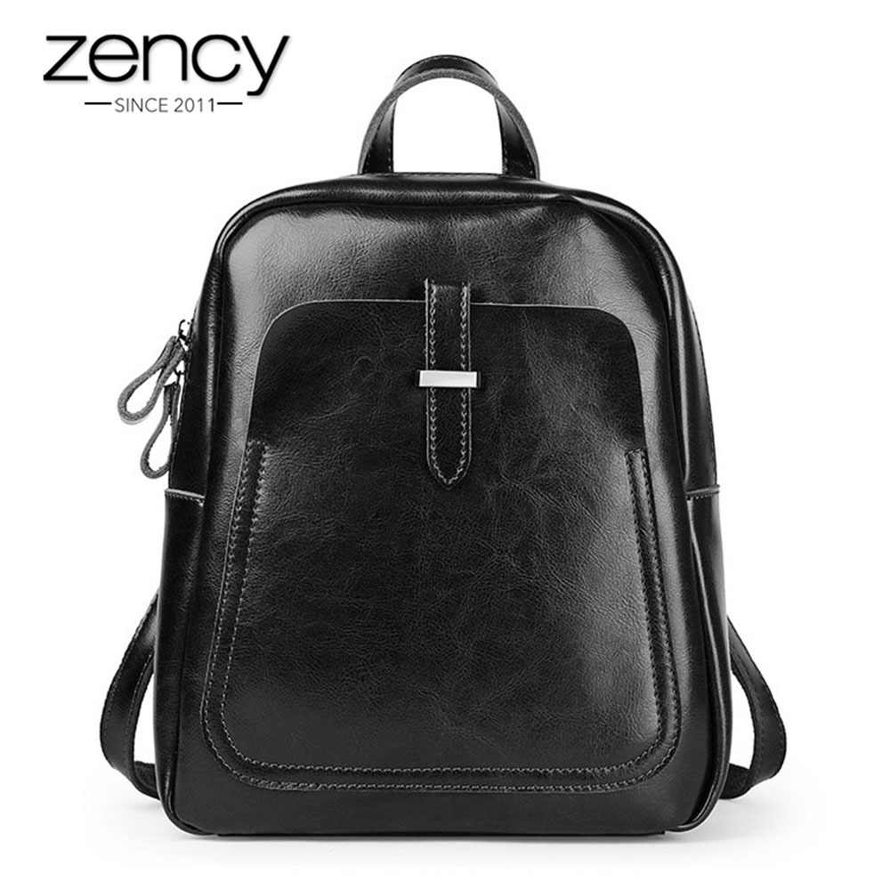 Zency 100% Real Cow Leather Fashion Women's Backpack Classic Black Lady Daily Casual Travel Bag Preppy Style Schoolbag For Girl